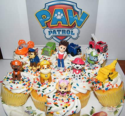 Nickelodeon PAW Patrol Figure Set Of 12 Deluxe Mini Cake Toppers Cupcake Decorations Party Favors Featuring