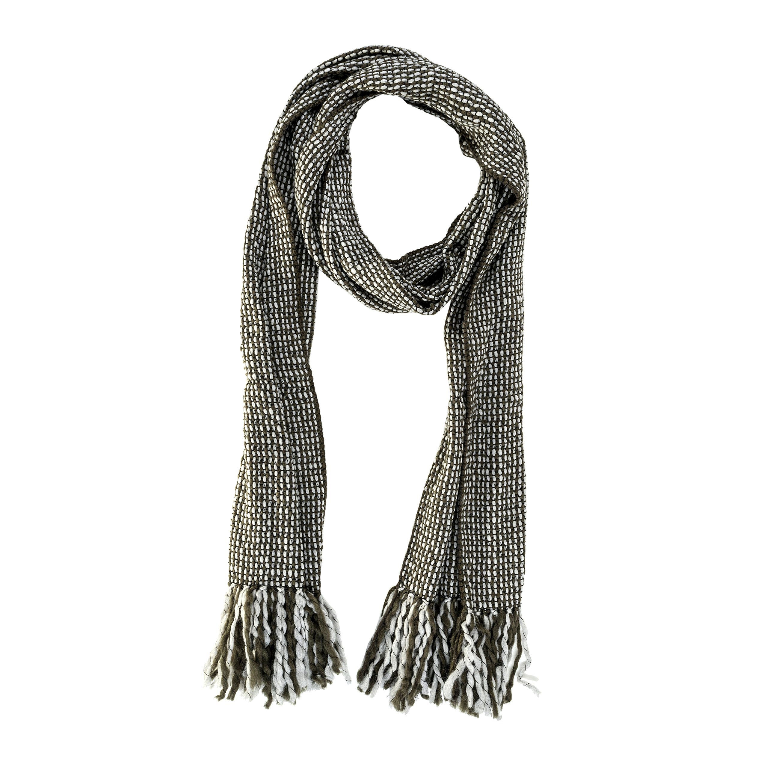 Tumia LAC - Striped Thick, Extra Long Luxurious Scarf - Handmade and Very Warm - Unisex - Olive Gray
