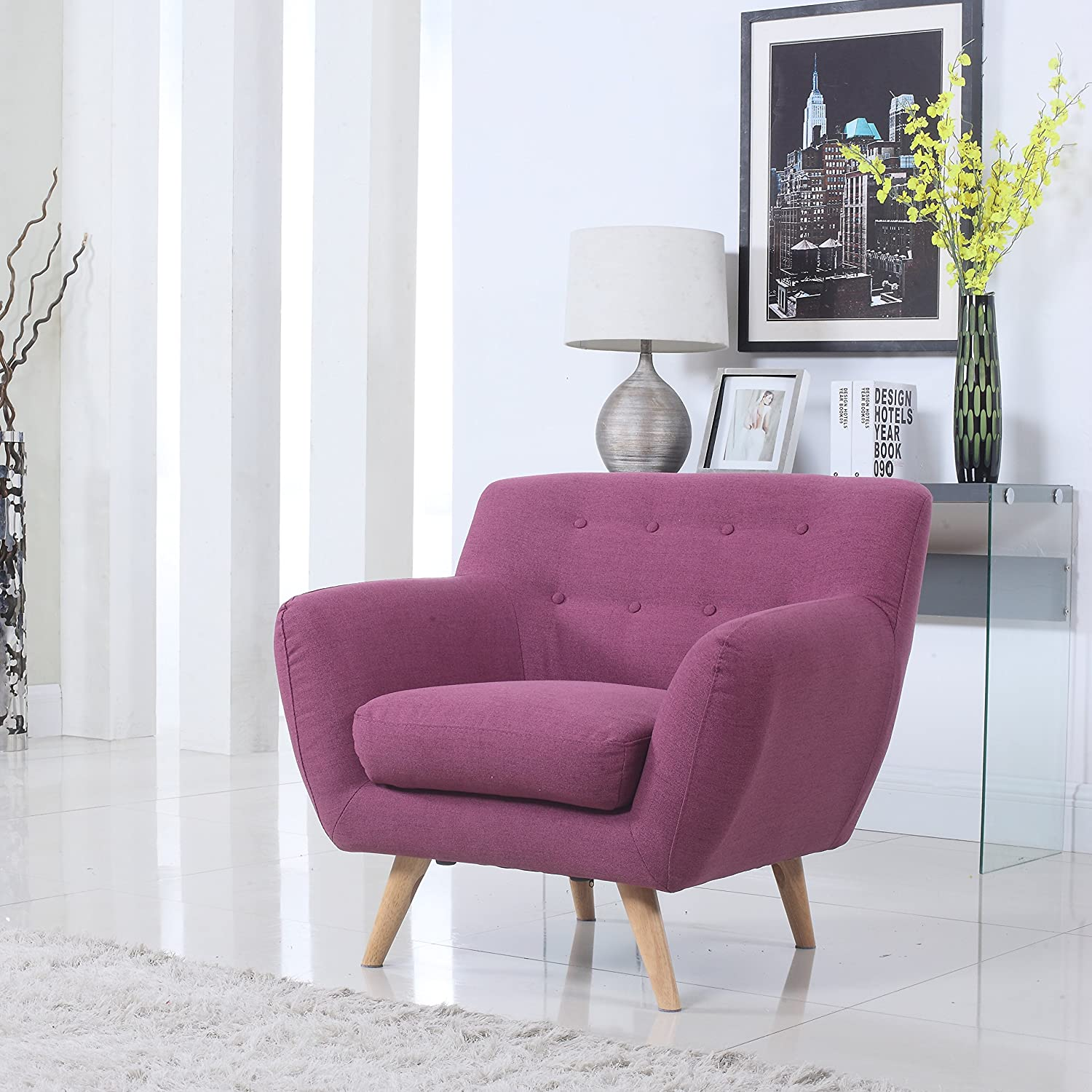 Mid Century Purple Modern Living Room Accent Armchair