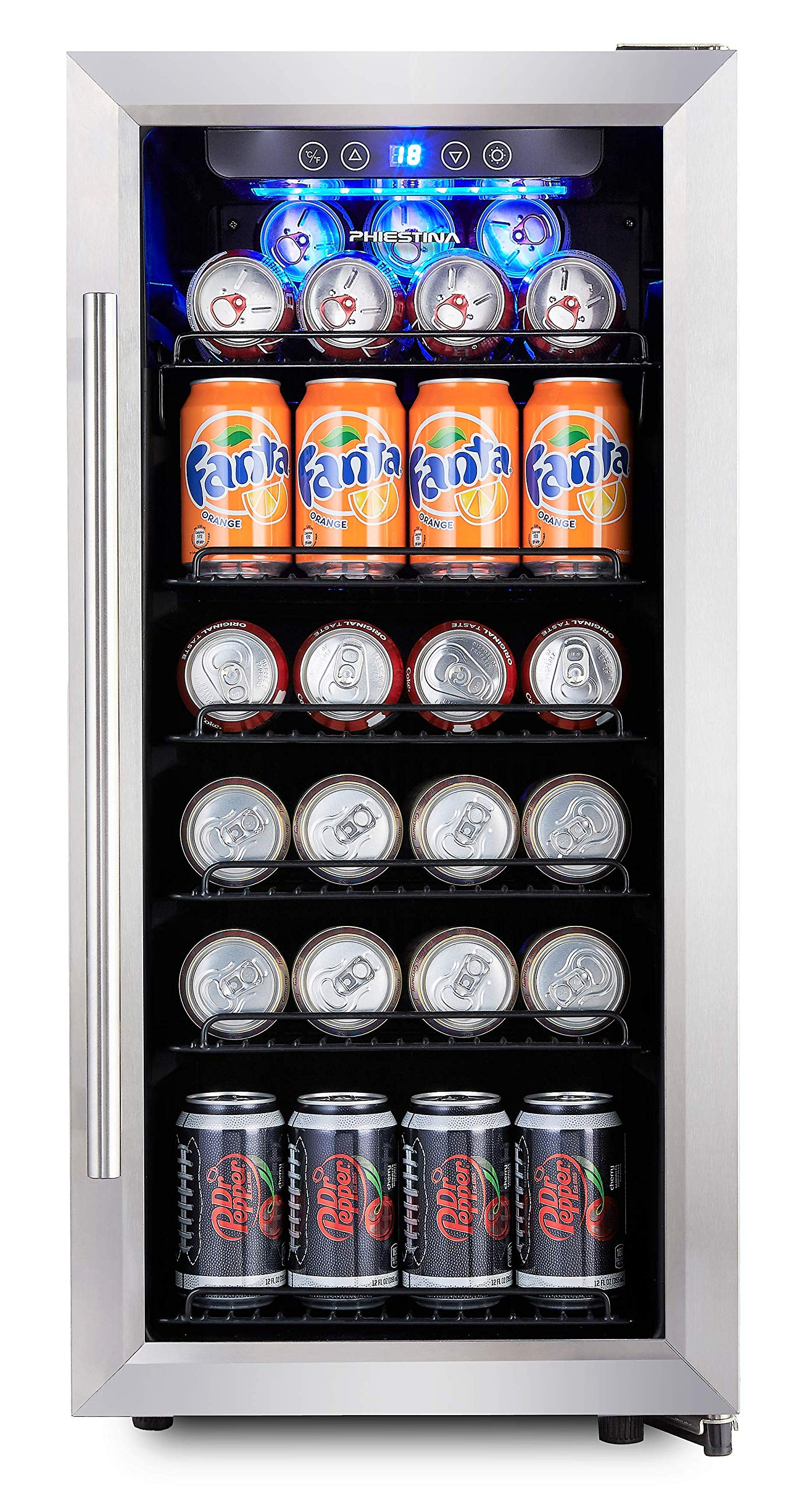 Phiestina PH-CBR100 106 Can Compressor Beverage Cooler Air-Cooled Refrigerator Stainless Steel & Glass Door with Handle by Phiestina
