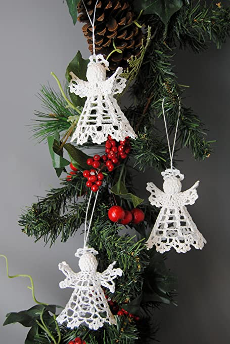 christmas festive set of 3 hanging knitted glitter crochet white angels tree decorations baubles - Crochet Angel Christmas Tree Decorations