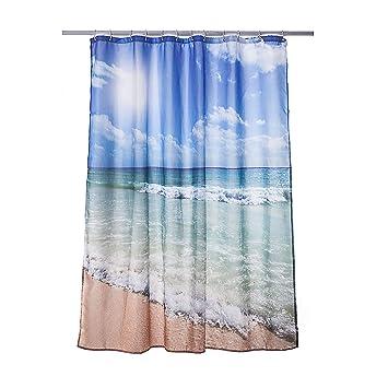 Alicemall Duschvorhang Strand Blau 180x180 Textil ...