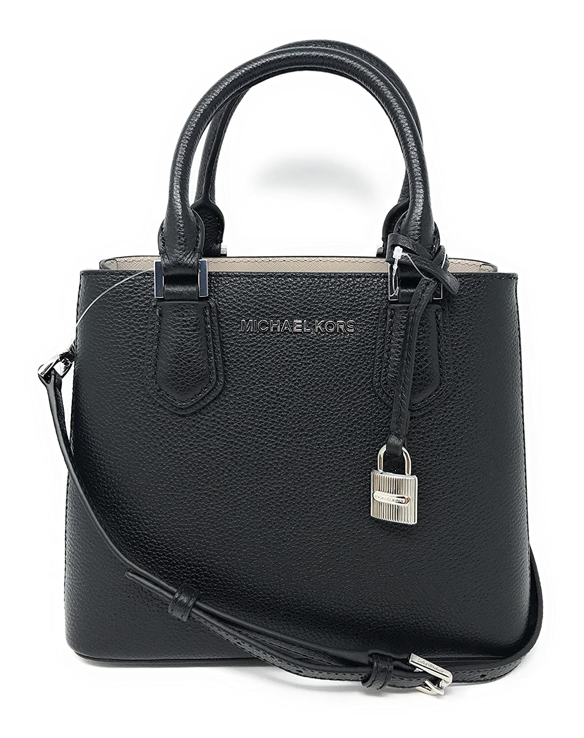 bb760589d5bb Amazon.com: Michael Kors Adele MD Leather Messenger Bag in Black/Cement:  Clothing