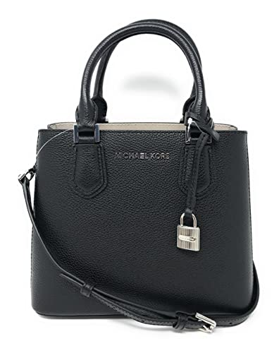 Amazon.com  Michael Kors Adele MD Leather Messenger Bag in Black ... 60b2640bc048c
