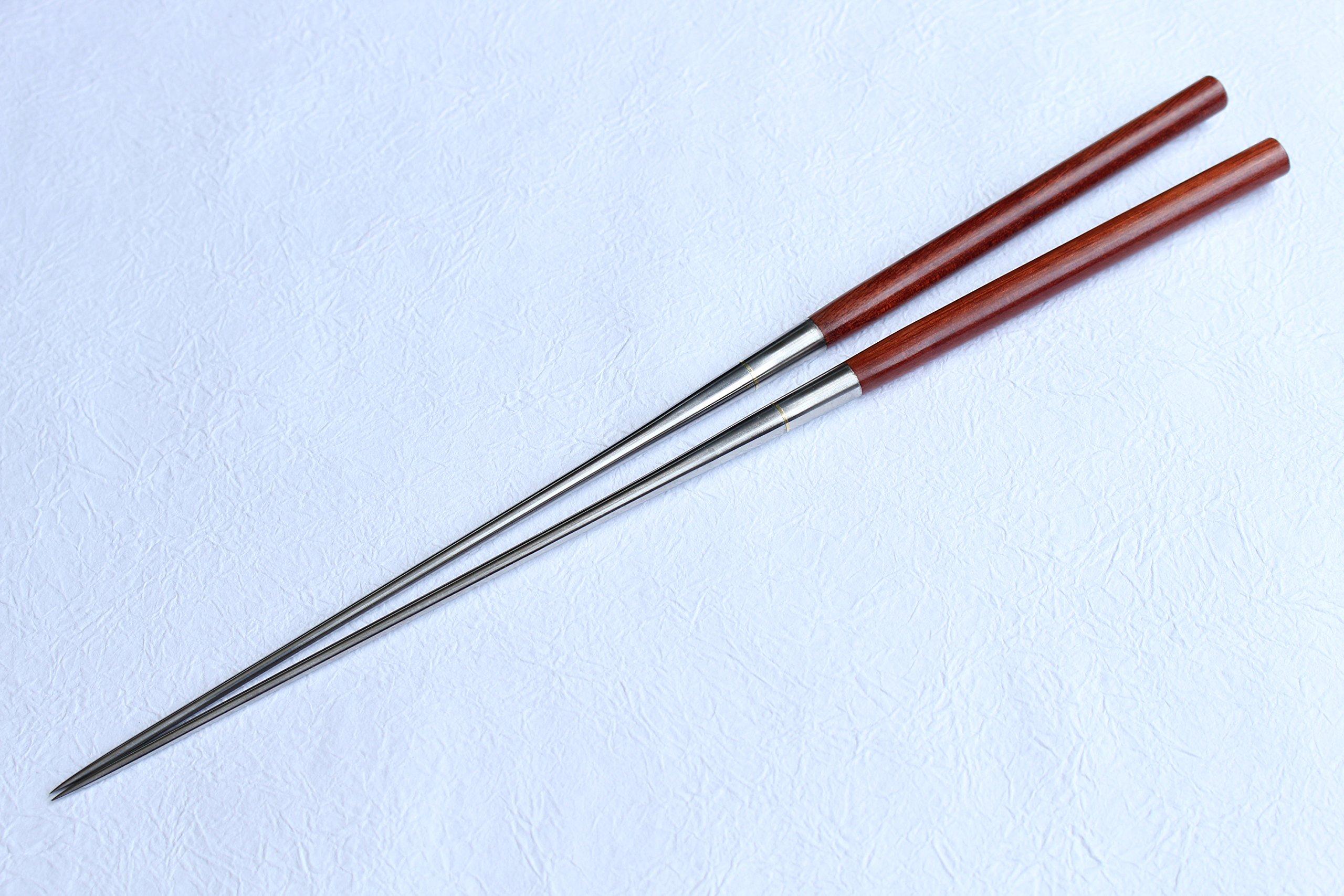 Ibuki Moribashi Chopsticks BloodWood Honyaki quenching stainless Japanese Sushi Chef's Garnishing 7.1 inch (180mm)