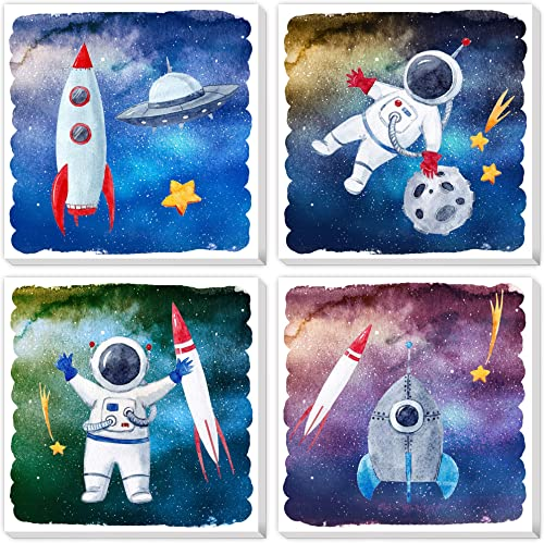 Texture of Dreams Cartoon Astronaut Rocket Stars UFO