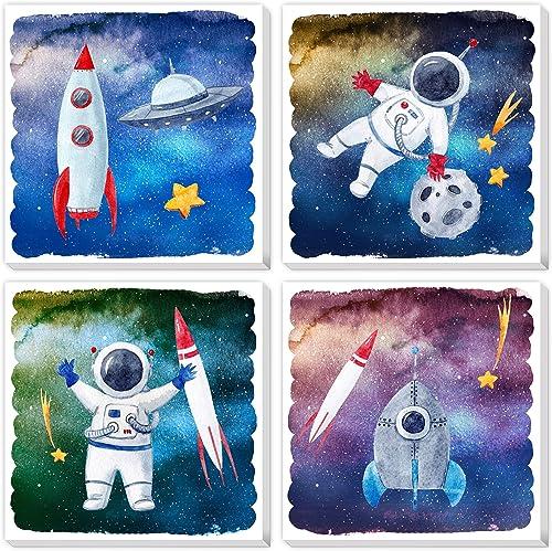 TEXTURE OF DREAMS Cartoon Astronaut Rocket Stars UFO