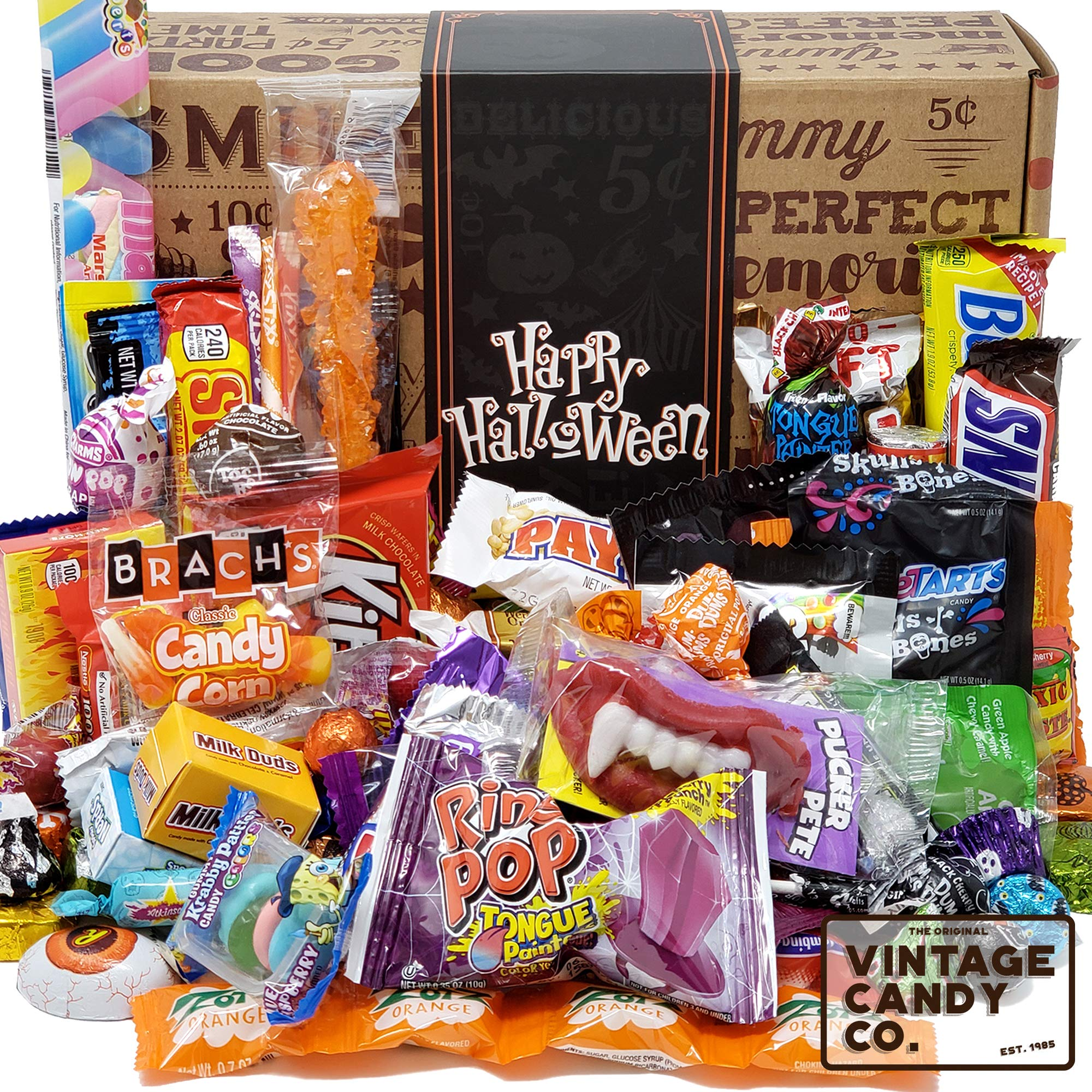 HALLOWEEN CANDY CARE PACKAGE LOADED GIFT ASSORTMENT Filled With Milk Chocolate Skulls, Eyeballs, Pumpkins, Seasonal Foil Candies, Candy Corn + More! PERFECT For Girls Boys Kids College Students Adults by Vintage Candy Co.