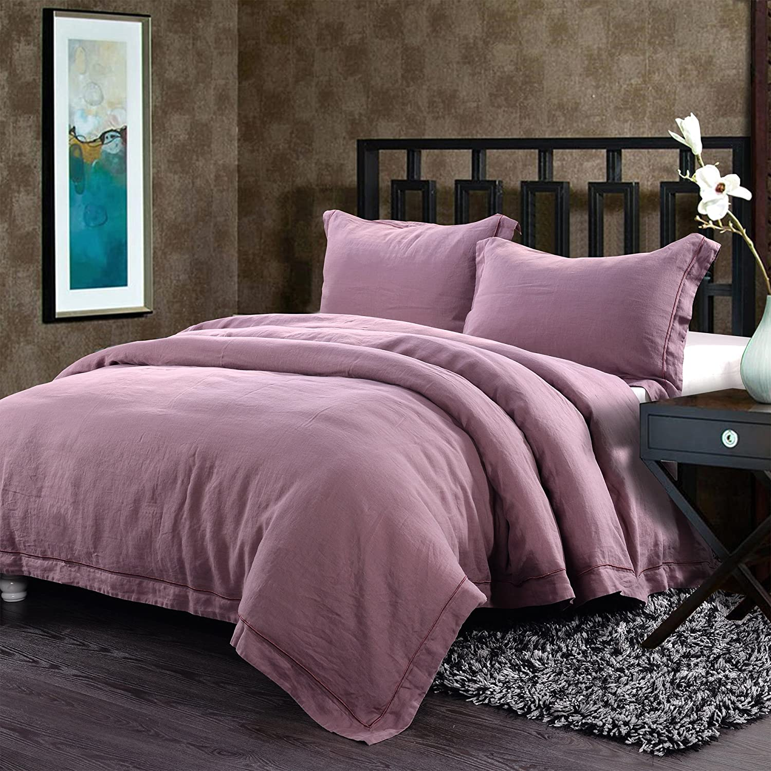 100% Linen Duvet Cover Set Embroidery Solid King, Purple