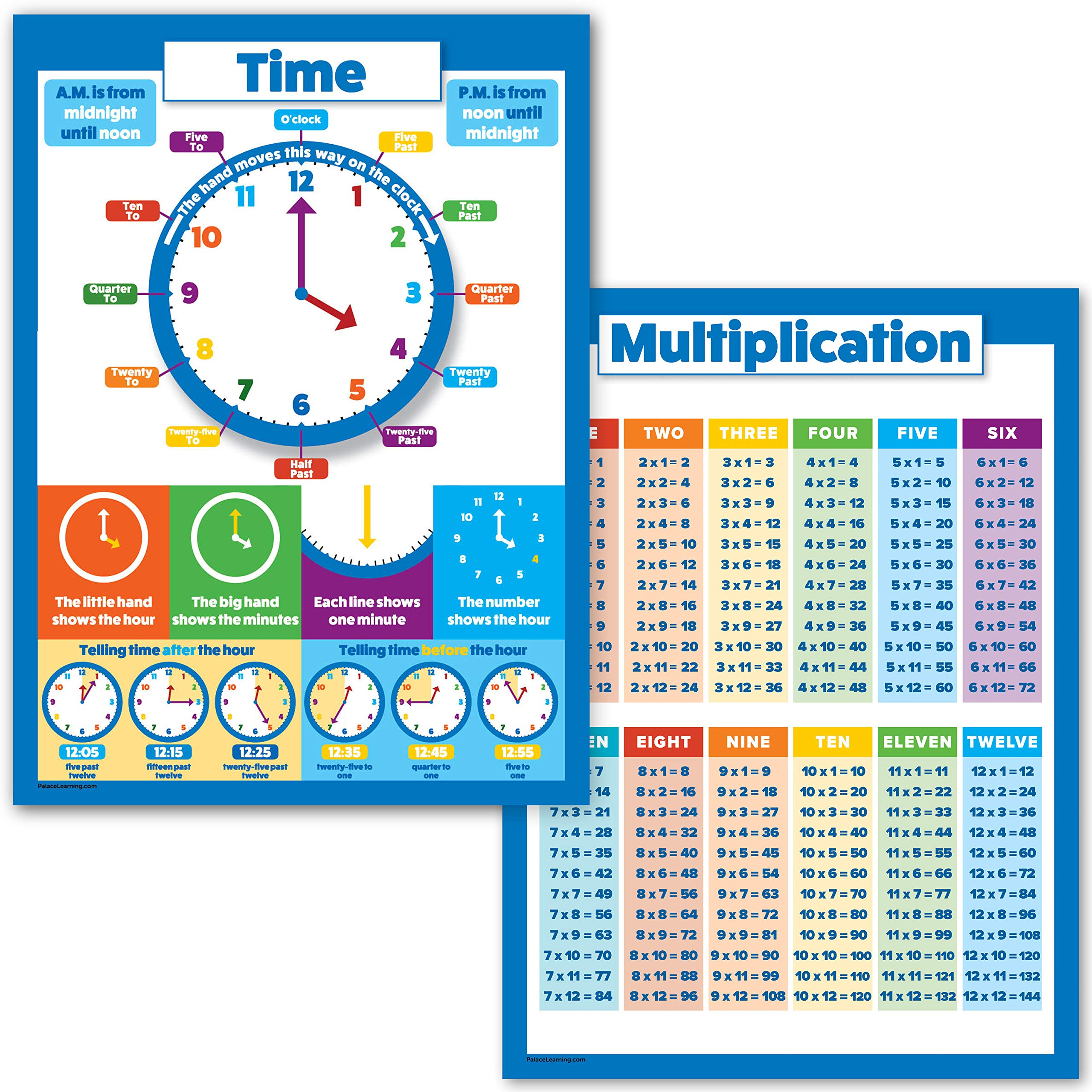 Multiplication Table and Telling Time Educational Posters for Kids - 2 Poster Set - Learn to Tell Time (18'' x 24'', Laminated)