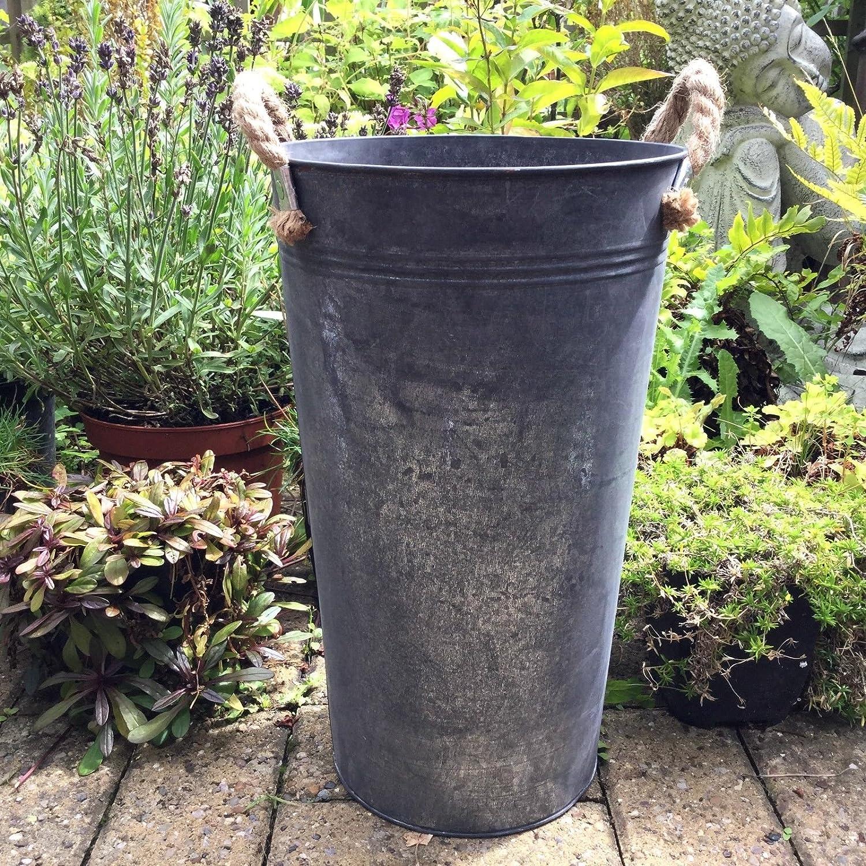 2 Xtall Large Metal Garden Planter Flower Pot Tub Round Vintage Style Dark Grey Amazon Co Uk Garden Outdoors