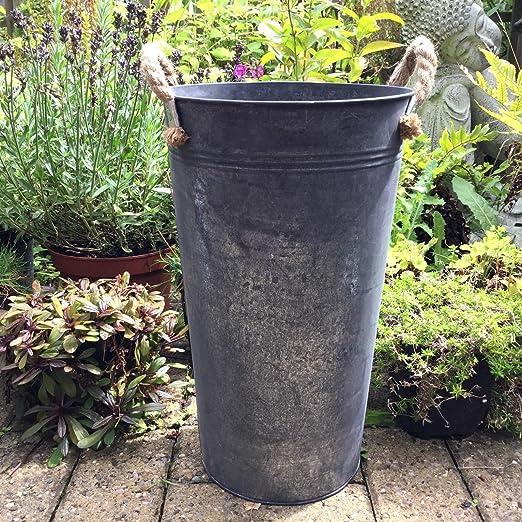 2 macetas grandes de metal para jardín, redondas, estilo vintage, color gris oscuro: Amazon.es: Jardín