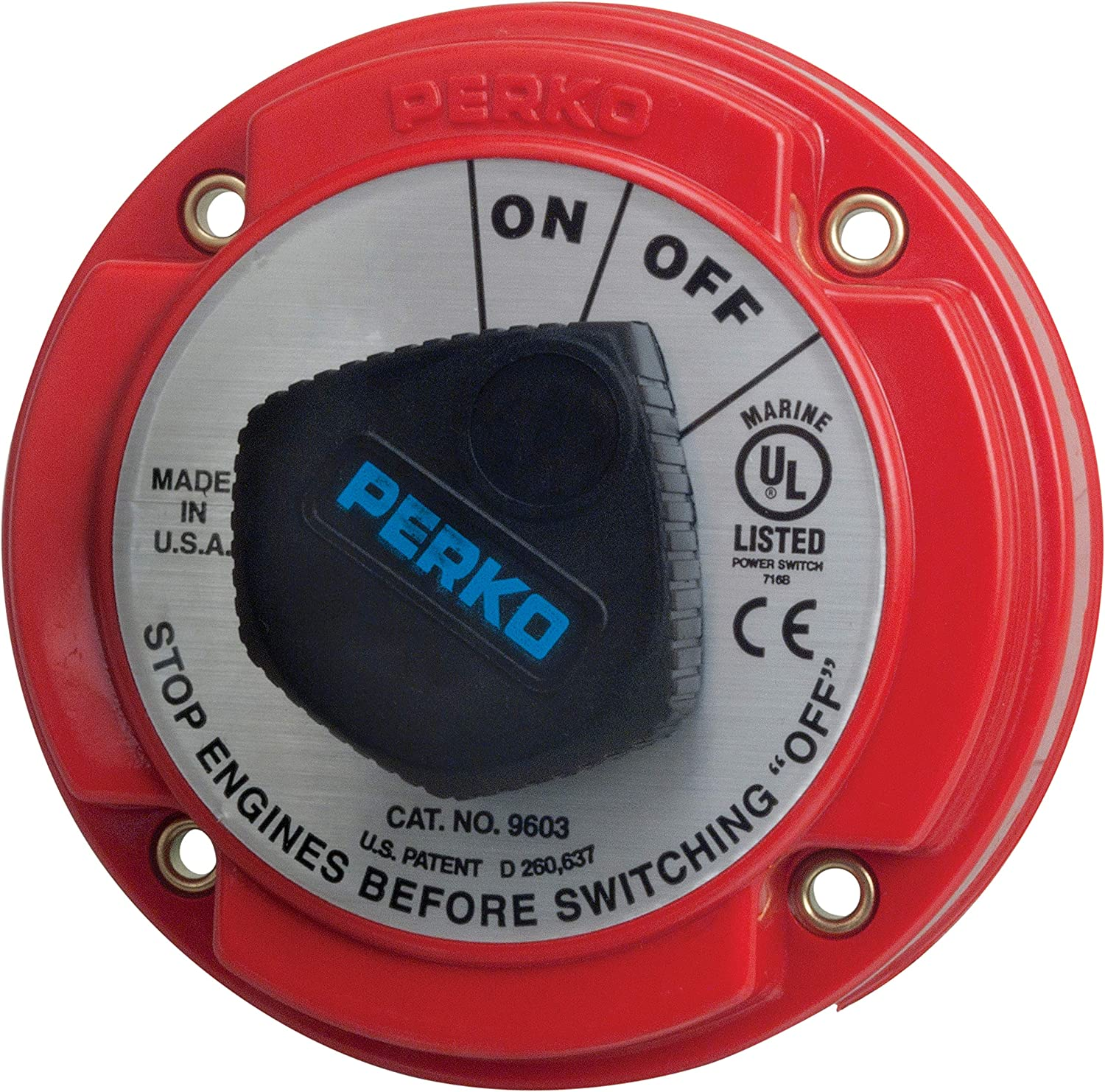 Perko 9603DP Medium Duty Main Battery Disconnect Switch with Alternator Field Disconnect : Boating Battery Switches : Sports & Outdoors