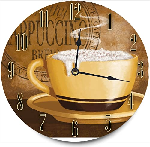 Stupell Industries Frothy Cappuccino Decorative Vanity Wall Clock, 12 x 0.4 x 12, Multi-Color
