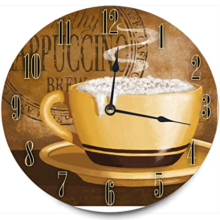 Stupell Home D cor Frothy Cappuccino Decorative Vanity Wall Clock, 12 x 0.4 x 12, Proudly Made in USA