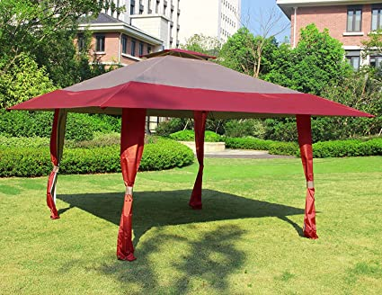 Bon Cloud Mountain 13u0027 X 13u0027 Outdoor Patio Easy Pop Up Double Roof Gazebo