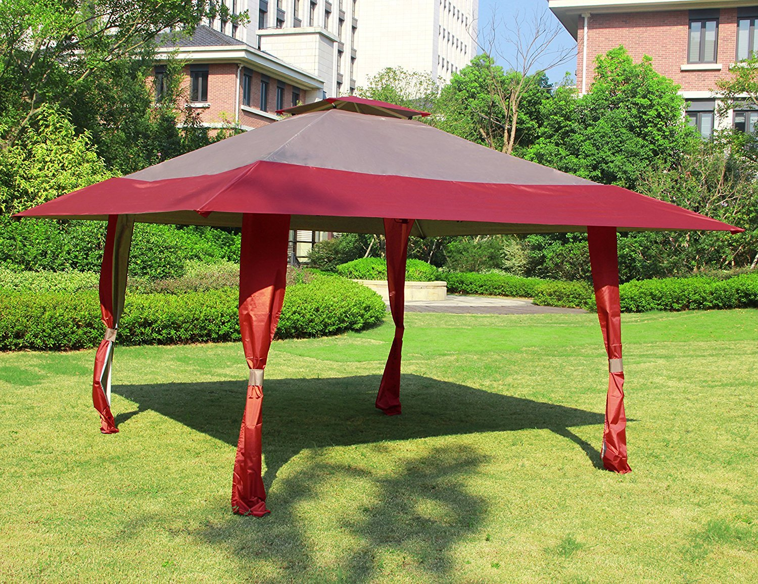 Cloud Mountain 13' x 13' Outdoor Patio Easy Pop-Up Double Roof Gazebo Canopy Tent, Water Resistance Resist Light Rain UV Protected Vented Gazobo for Party Event, Burgundy Tan by Cloud Mountain