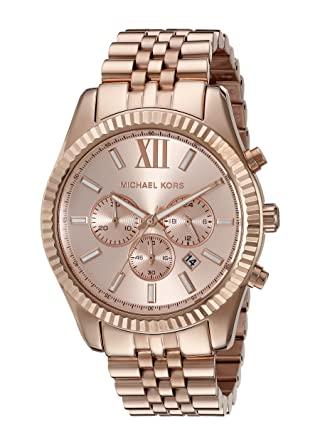 2298b8d6a15a Amazon.com  Michael Kors Oversize Rose Golden Stainless Steel Lexington  Chronograph Women s watch  MK8319  Michael Kors  Watches