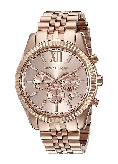 Michael Kors MK8319 - Reloj con correa de piel para hombre, color marrón/gris: Michael Kors: Amazon.es: Relojes