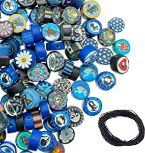300 PCS Polymer Clay Disc Beads for Jewelry Making and 10 Meters Wax Cord, Charm DIY Kit for Adults, Beads for Necklaces and Bracelets, Pendant Jewelry Supplies