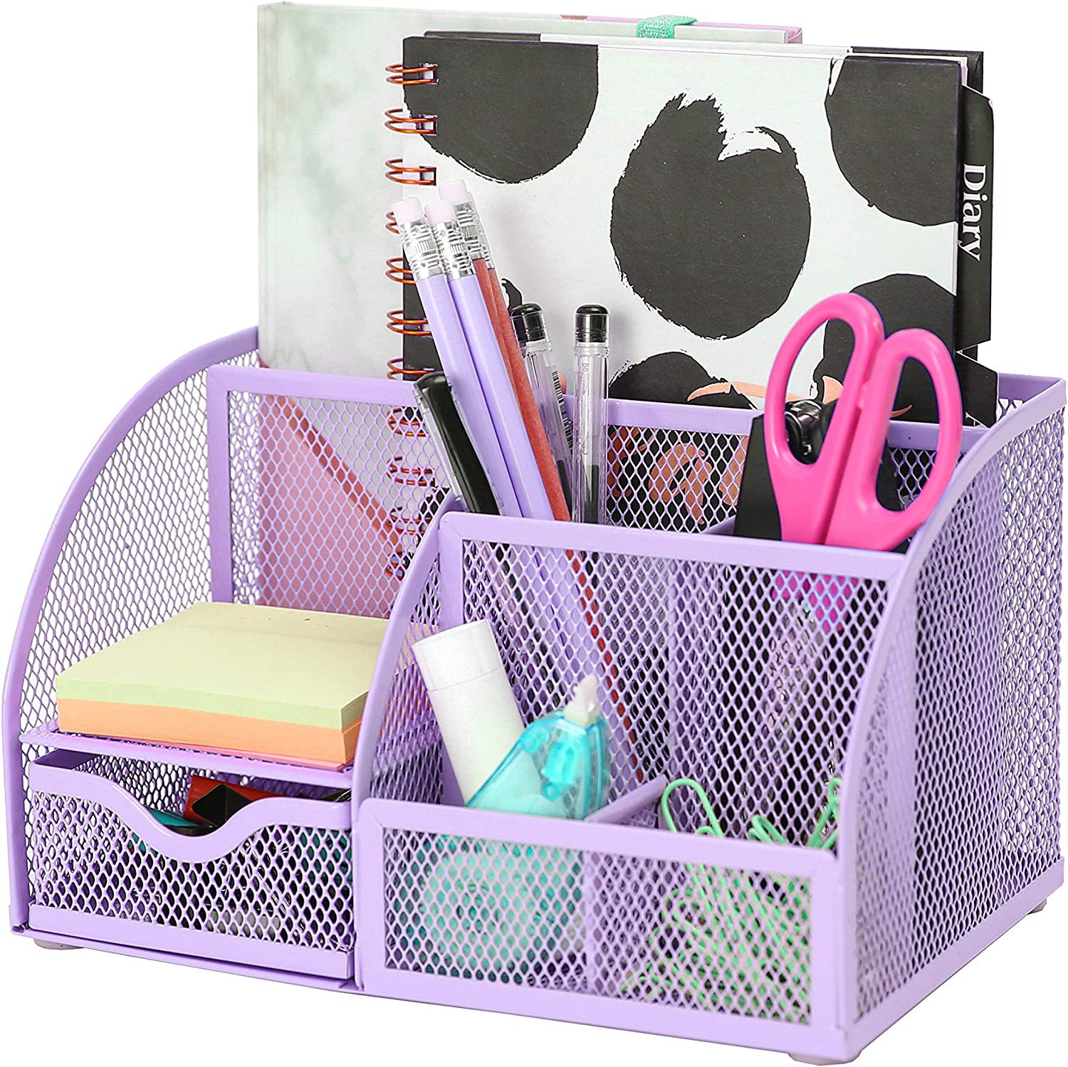 Exerz Mesh Desk Organizer Office with 7 Compartments + Drawer/Desk Tidy Candy/Pen Holder/Multifunctional Organizer (348-Light Purple)