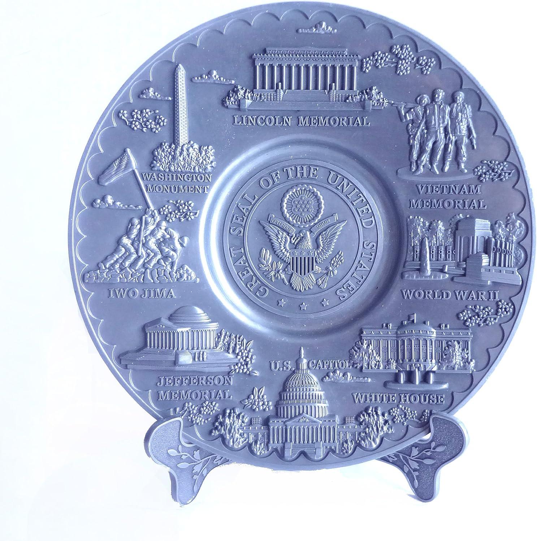 Washington DC Metal Plate Gray and Gold  Colored 6.5 inch Diameter Souvenir