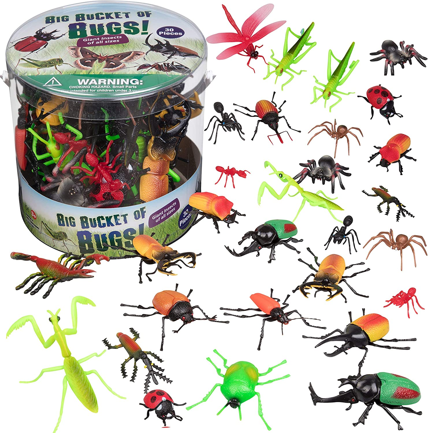 Toy Bug Action Figure Set - 30 Piece Playset, 15 Unique Sculpts- Giant Insects Educational Toy Playset (Ants, Tarantula, Spiders) - 2in-4in Figures, Fun for Pranks or Summer Gift
