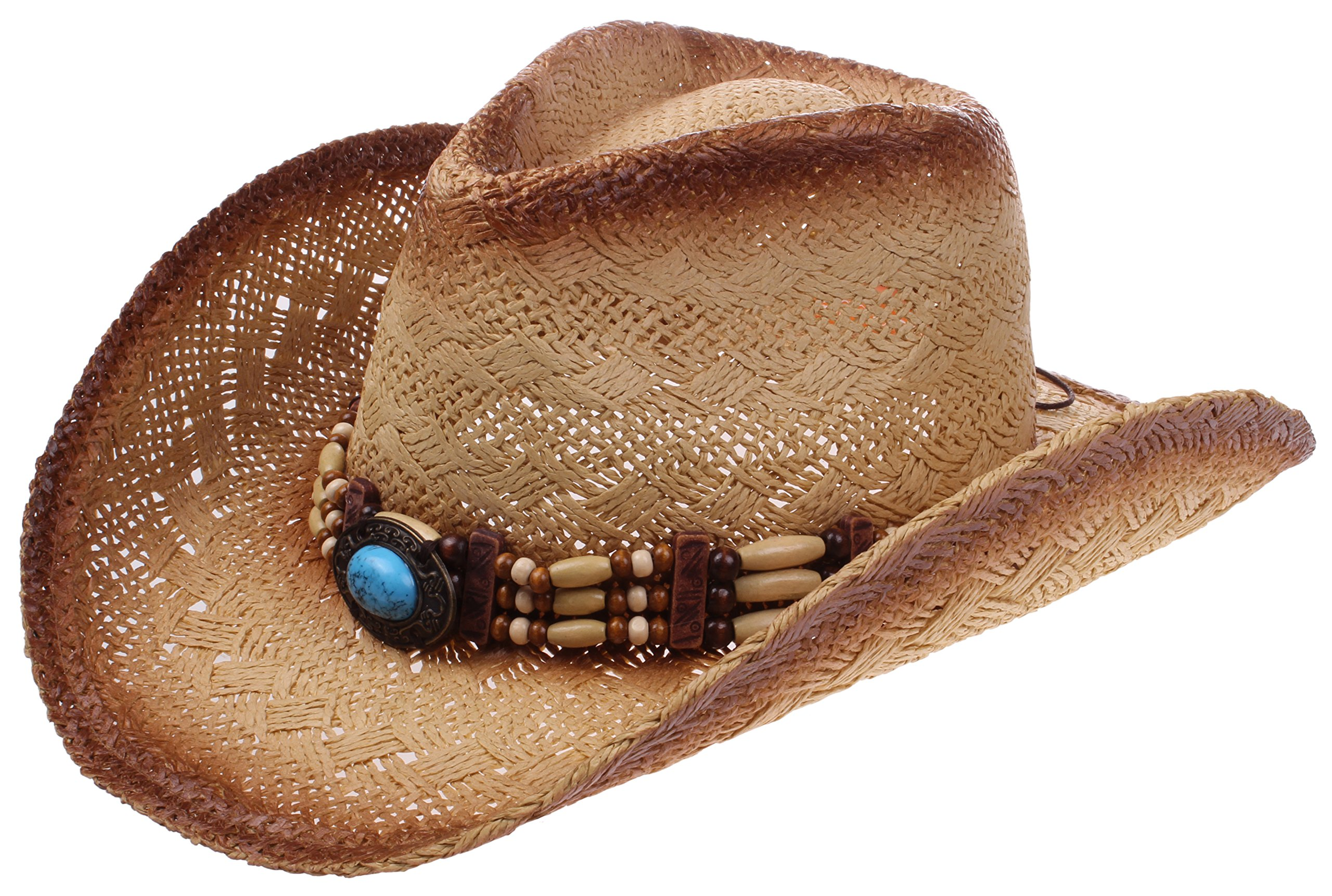 Enimay Western Outback Cowboy Hat Men's Women's Style Straw Felt Canvas (Western Brown)