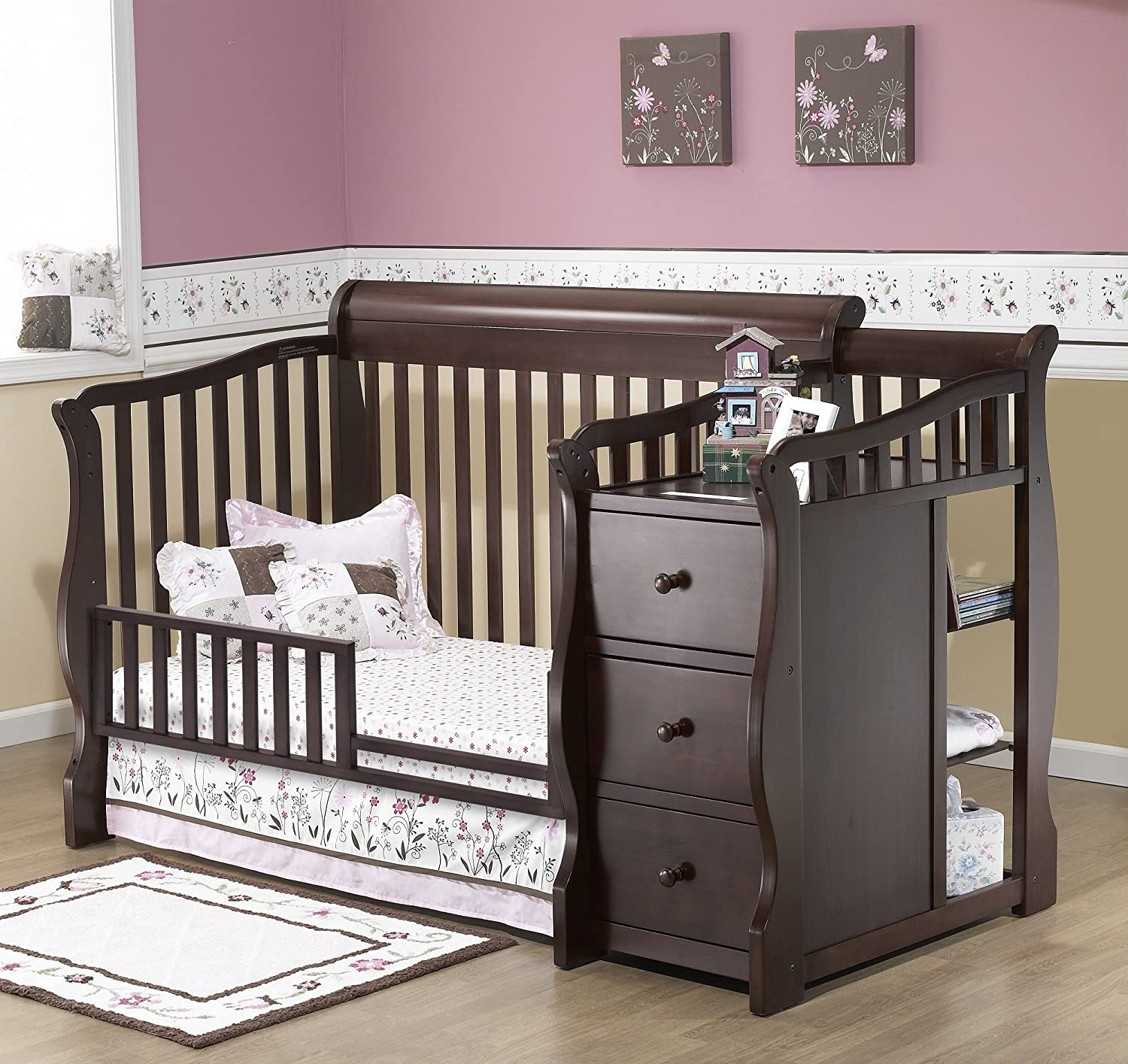 Amazoncom Sorelle Tuscany 4in1 Convertible Crib and Changer Set