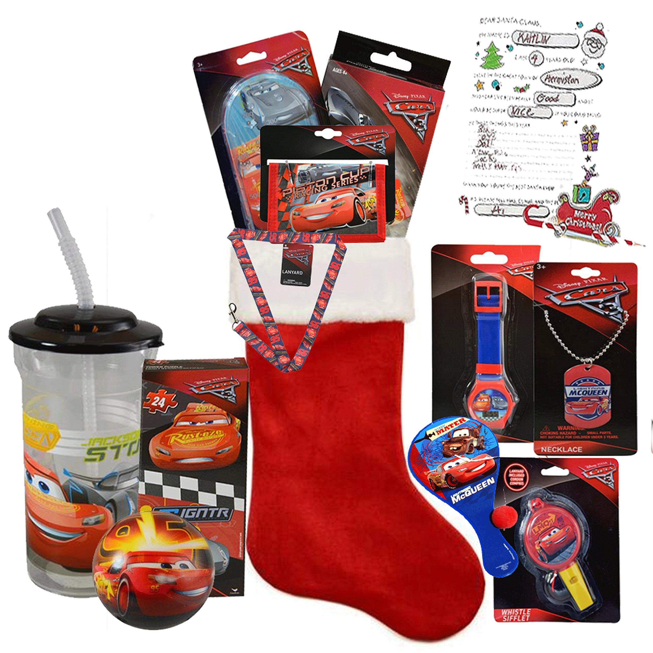 Disney Pixar ''Cars'' All Inclusive Kids 12pc Pre-Filled Christmas Stocking Featuring Lightning McQueen! Plus Bonus ''Letter To Santa''