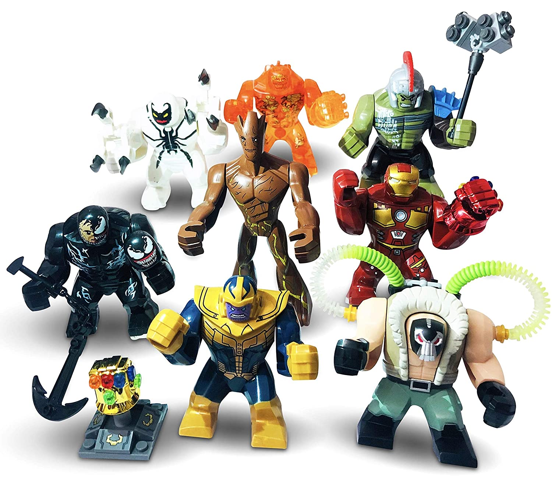 Premium Large Size Marvel mini figures 8 x Custom BIG MiniFigures Set Mini Figs Super Hero Series