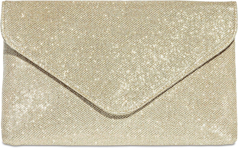 Caspar TA357 Bolso de Mano Fiesta Elegante para Mujer Clutch Brillo