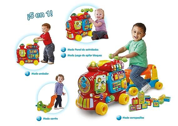 VTech - Maxi Tren 5 en 1, Juguete Evolutivo con Cinco Modos de Juego, Panel de Actividades, Apila Bloques, Andador, Correpasillos y Carrito, Versión ...