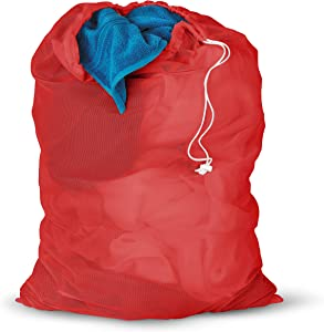 Honey-Can-Do LBG-01162 Mesh Laundry Bag with Drawstring, Red, 25-inches L x 36-Inches H