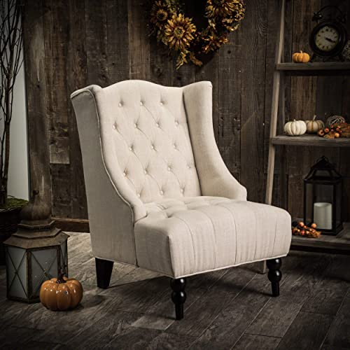 Great Deal Furniture Clarice Tall Wingback Tufted Fabric Accent Chair