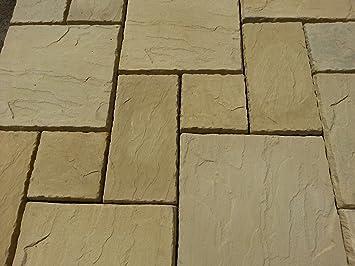 Stone Concrete Random Paving In Cotswold Buff.