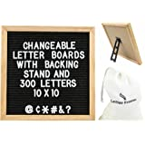 LETTER BOARD WITH STAND! 10x10 inch premium oak frame changeable letter board, 300 letters and symbols with Black Felt