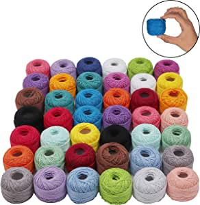 Kurtzy Crochet Thread (42 Pcs) - (10 Grams, 80.9 Yards Each) Cotton Thread Balls with Crochet Hooks - Crochet Yarn for Beginners and Experienced Crochet Enthusiast (Assorted Colors)