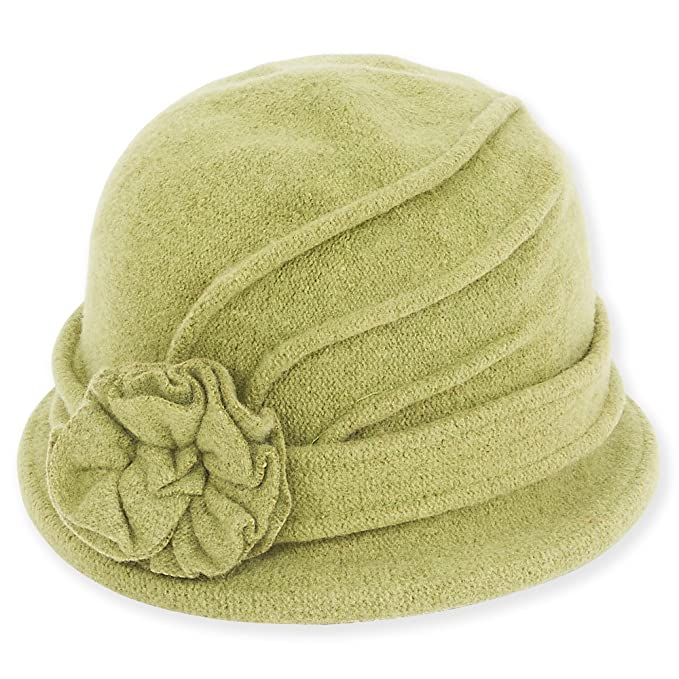 1930s Style Hats | Buy 30s Ladies Hats Adora Womens Soft Wool Cloche Bucket Hat with Floral Trim 653 $21.95 AT vintagedancer.com