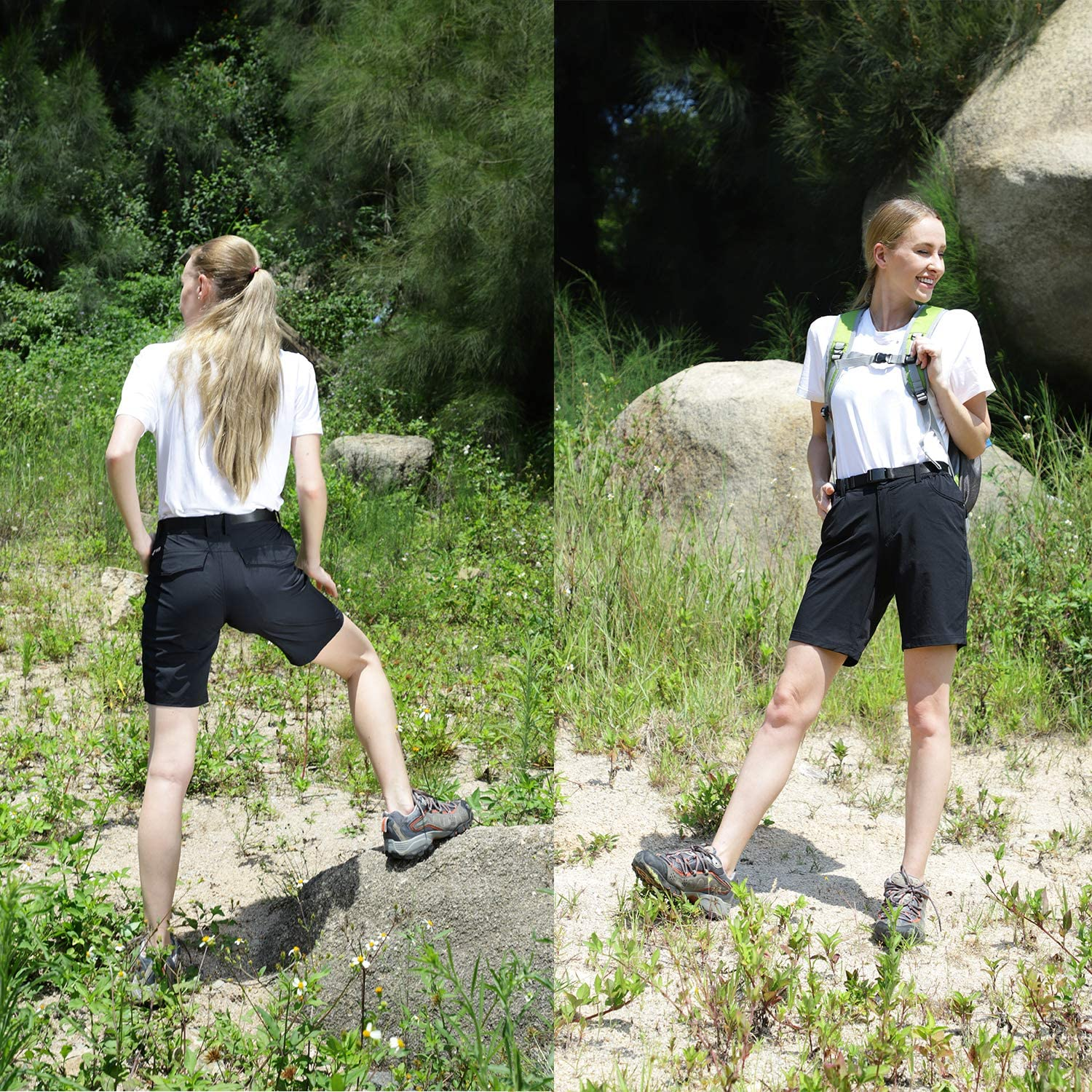 Exclude Belt MIER Womens Quick Dry Hiking Shorts Stretchy Shorts,Water Resistant and Lightweight