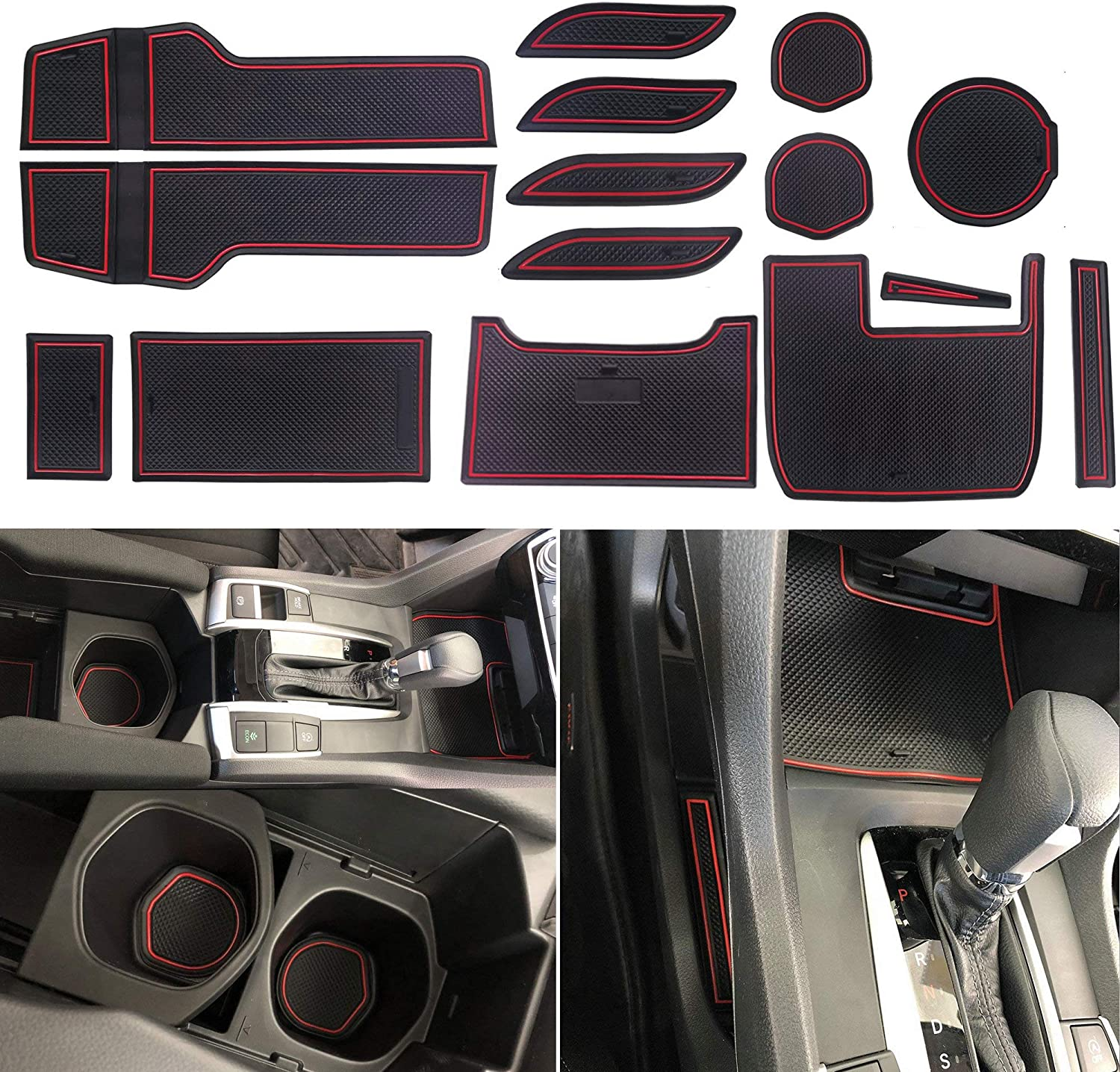 Red Sporthfish Non-Slip Anti-dust Custom Fit Cup Holder and Door Liner Accessories for 2017 2018 2019 Ford F-150 Ford F150-28 pcs Set