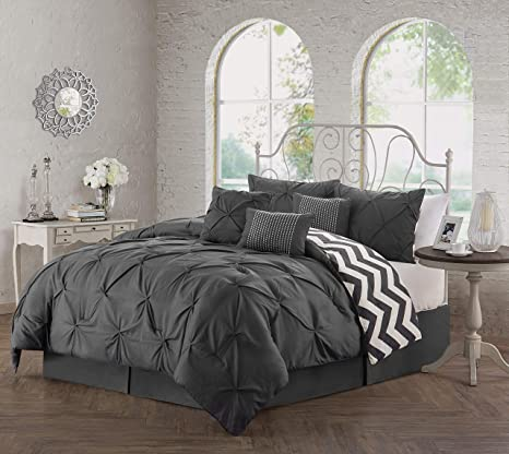 Geneva Home Fashion Ell7csquenghcl Bedding Set Queen Charcoal Amazon Ca Home Kitchen