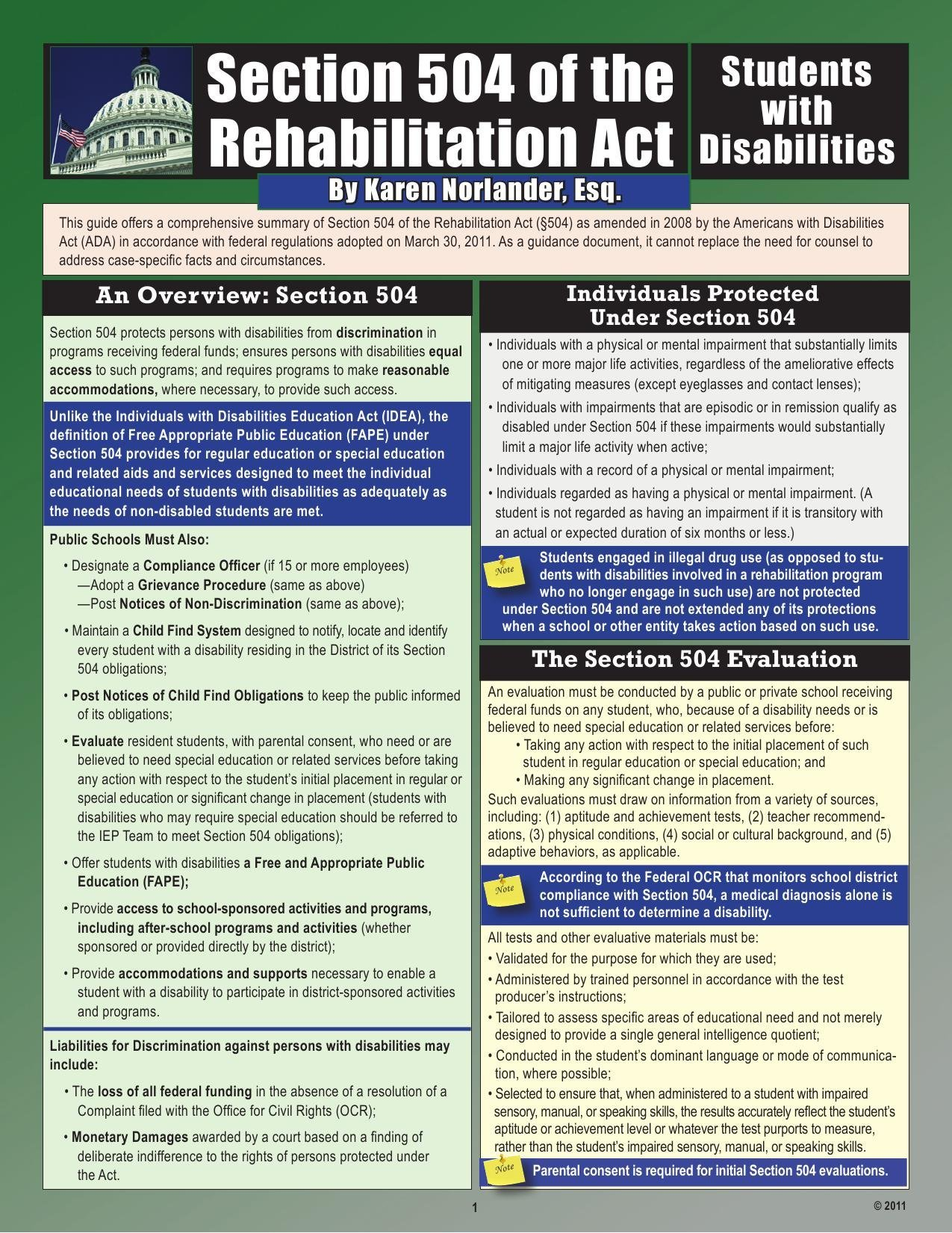 Section 504 of the Rehabilitation Act: Students with Disabilities, 2nd Edition