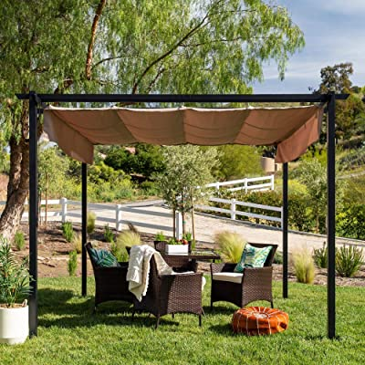 Summer Decor- Retractable Pergola-10x10ft.-Create an Inviting Outdoor Dining Space for Your Backyard: Garden & Outdoor