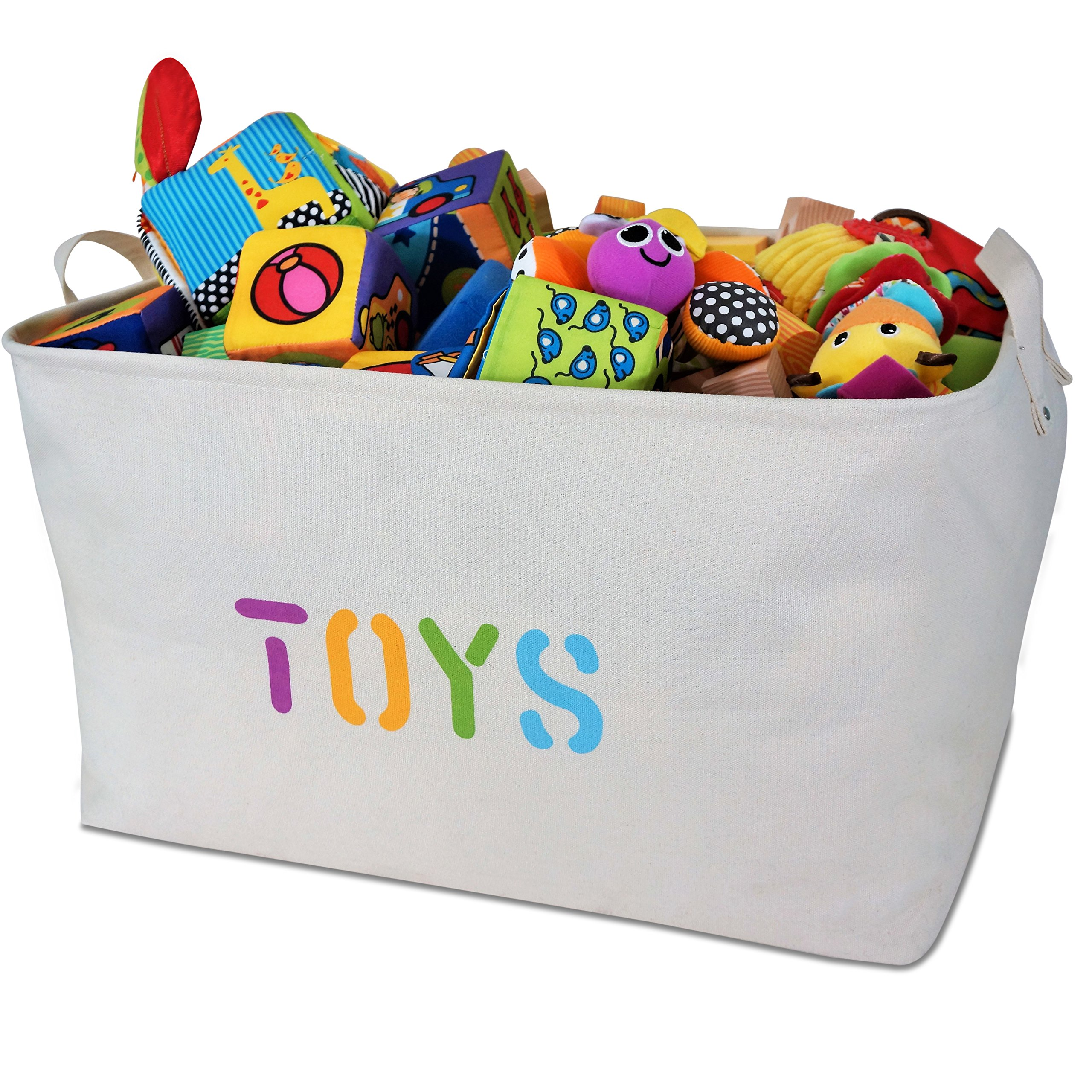 "OrganizerLogic Toy Storage Bins - 22"" x 15"" x 13"" Canvas Extra Extra Large Basket for Organizing Your Toys, Kids, Pets, Laundry - Cute Baskets (XXL)"