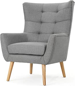 Christopher Knight Home Tamsin Fabric Mid-Century Club Chair, Grey