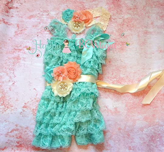 6fdb7c7bbb98 Image Unavailable. Image not available for. Color  3pcs Ivory Blush Aqua Lace  Petti Romper ...