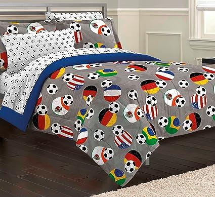 Nice My Room Soccer Fever Teen Bedding Comforter Set, Gray, Twin