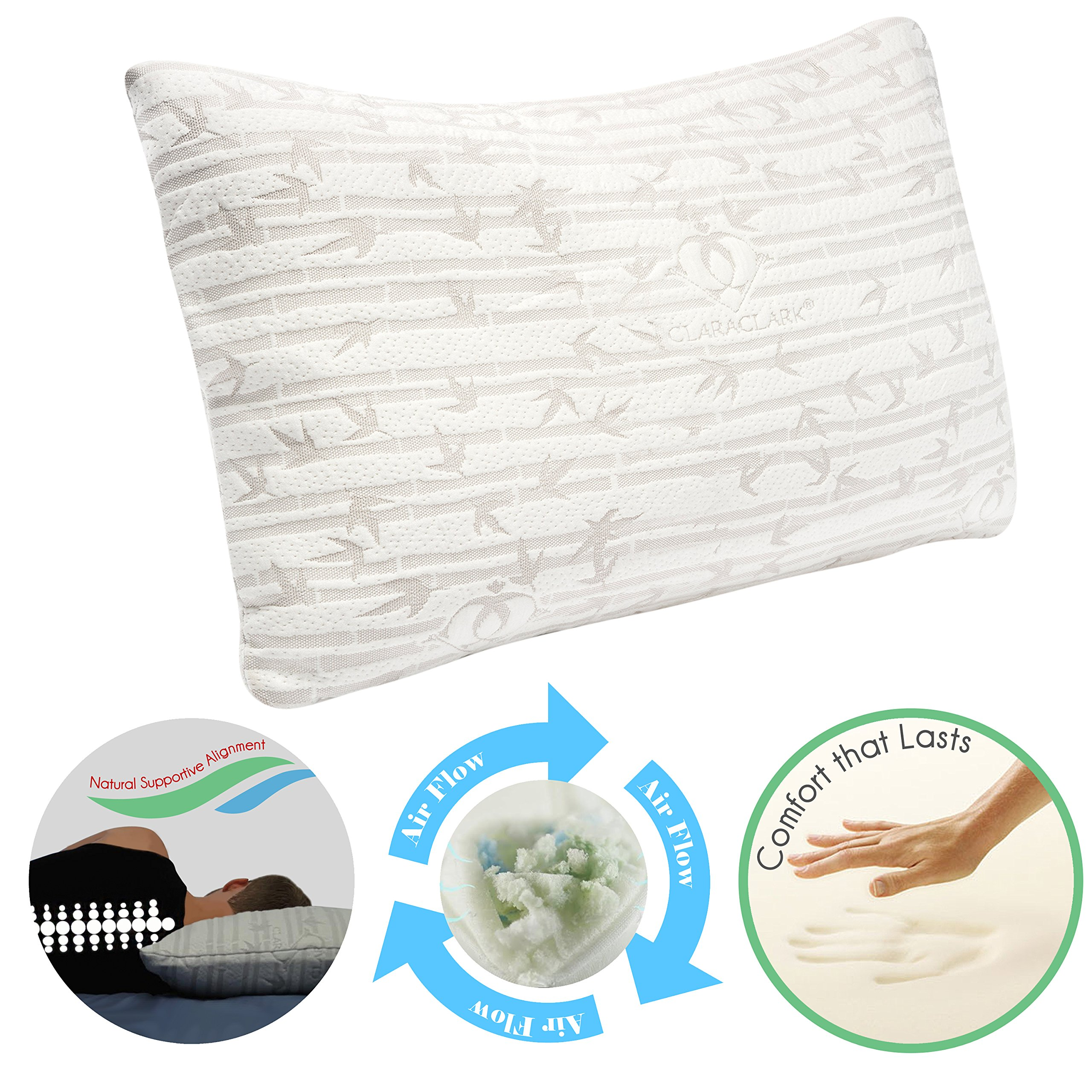 Clara Clark Shredded Memory Foam Gel Fiber-Filled Cool All Side Sleeper Bed Pillow, King Size, White, with Rayon made from Bamboo Washable Hypoallergenic Zippered Removable Cover,