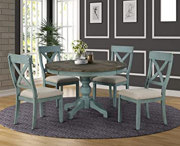 Amazon Com Roundhill Furniture Prato 5 Piece Round Dining Table Set With Cross Back Chairs Blue Table Chair Sets